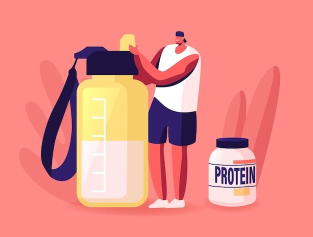Winziger sportler-charakter macht protein-cocktail im shaker im fitnessstudio