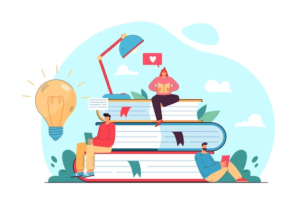 Winziger student, der auf buchstapel sitzt und flache illustration liest.
