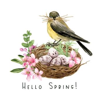 Winziger vogel, der auf dem nest mit eierillustrationsentwurf sitzt