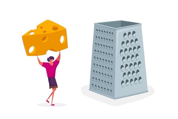 Winziges weibliches charakter-gitter-stück frischkäse auf riesiger reibe zum kochen italienischer pizza