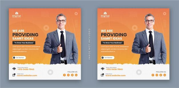 Wir bieten smarte ideen für business-flyer und moderne quadratische instagram-social-media-post-banner
