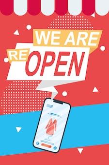 Wir eröffnen wieder handelsmarken mit smartphone-illustration