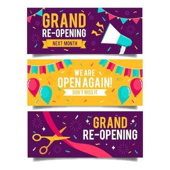Wir feiern das banner der wiedereröffnung der geschäfte