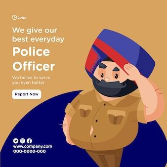 Wir geben unser bestes tägliches bannerdesign mit dem polizisten, der den gruß gibt