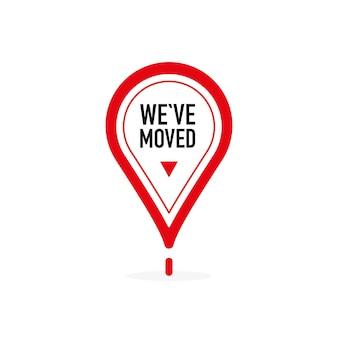 Wir haben roten punkt auf weißem hintergrund verschoben. vektor-illustration.