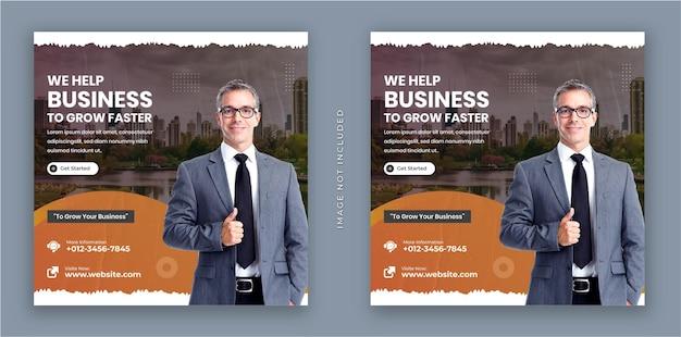 Wir helfen ihrem geschäft, schneller zu wachsen flyer und moderne quadratische instagram-social-media-post-banner