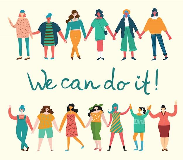 Wir können es schaffen. feminines konzept und frauenermächtigungsdesign für banner