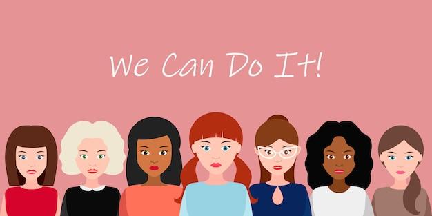 Wir können es schaffen. konzept der weiblichen macht, frauenrechte, protest, feminismus. vektor.