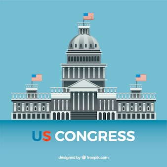 Wir kongressgebäude mit flachem design
