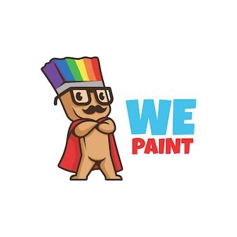 Wir malen logo. lächelnder pinselcharakter mit schnurrbart. logo farbe. farblogo. regenbogenfarbe.