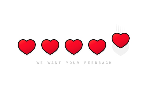 Wir möchten, dass ihr feedback das herzsymbol bewertet Premium Vektoren
