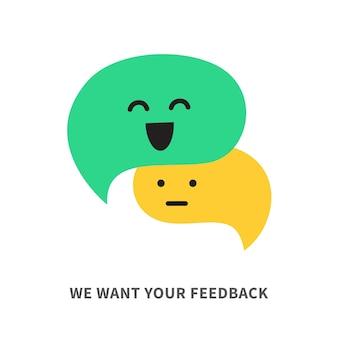 Wir möchten ihre feedback-vektor-sprechblasen-illustration isoliert auf weißem hintergrund