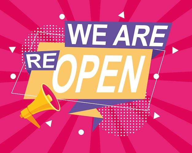 Wir öffnen wieder handelsmarke mit megaphon in rosa hintergrundillustration