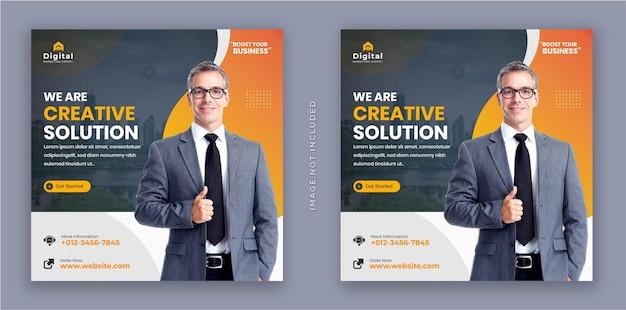 Wir sind ein kreativer lösungsmarketing-agentur-flyer und ein modernes quadratisches instagram-social-media-post-banner