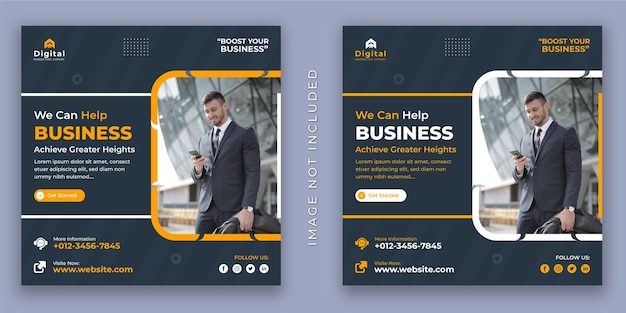 Wir sind eine werbeagentur und ein corporate business flyer social media instagram post banner vorlage