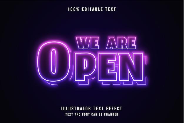 Wir sind offen, 3d bearbeitbarer texteffekt rosa abstufung lila neon-effekt Premium Vektoren