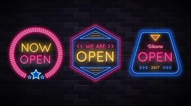 Wir sind offen und wieder im business-neonschild