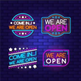 Wir sind offenes zeichen neon sammlung thema