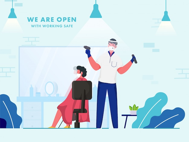 Wir sind open barbershop mit sicherer arbeit, um coronavirus-pandemien vorzubeugen.
