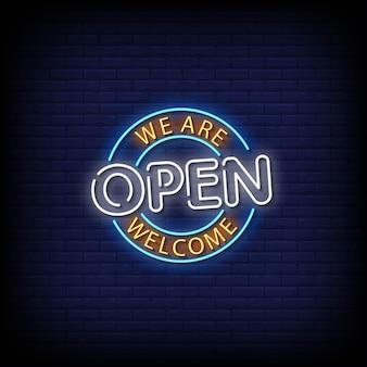 Wir sind open neon signs style text