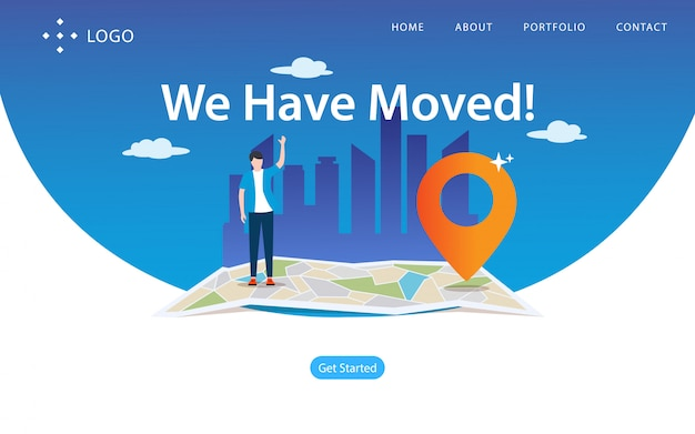Wir sind umgezogen, website-vektor-illustration