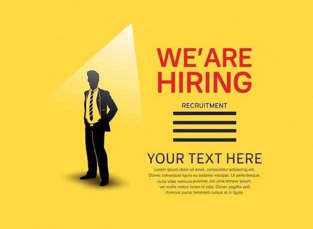 Wir stellen ein job-poster mit mann-silhouette ein