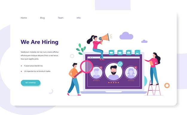 Wir stellen ein. rekrutierungs-web-banner-konzept. job