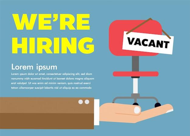 Wir stellen ein, stuhl auf der hand, finden einen job.