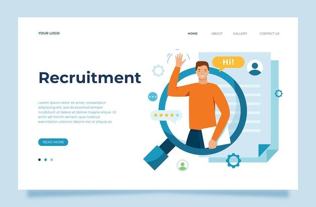 Wir stellen einen personalmanager ein, der einen mitarbeiter sucht, der unserem team-rekrutierungsprozess-vektorillustration beitritt Premium Vektoren
