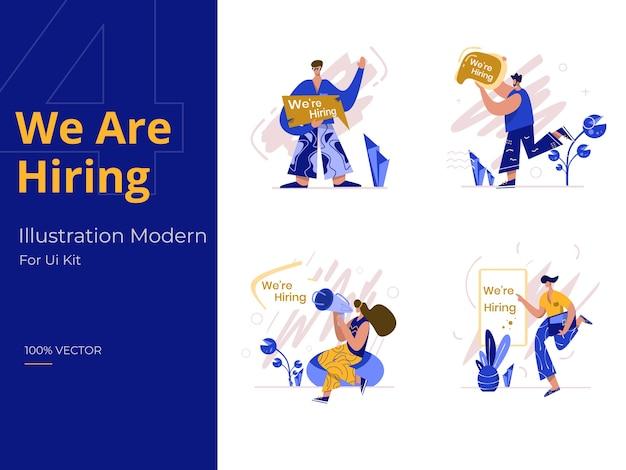Wir stellen illustration ein, das konzept der rekrutierung