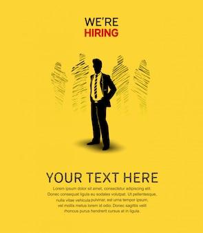 Wir stellen poster gelben hintergrund an