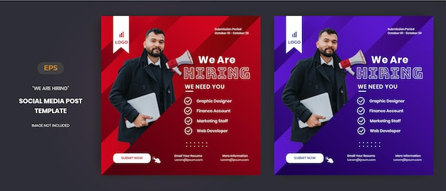 Wir stellen stellenanzeigen-banner oder social-media-beiträge ein