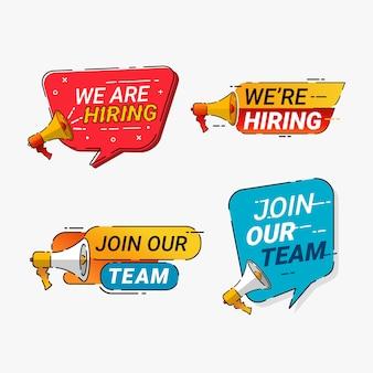 Wir suchen mitarbeiter für unsere team-abzeichen