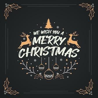 Wir wünschen ihnen ein frohes weihnachtsfest, ein fröhliches weihnachtsgrußkartendesign mit schneeflocken, stechpalmenblättern, sternen, hirschen und anderen weihnachtsdekorationselementen.