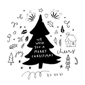 Wir wünschen ihnen eine frohe weihnachtshand beschriftete grußkarte