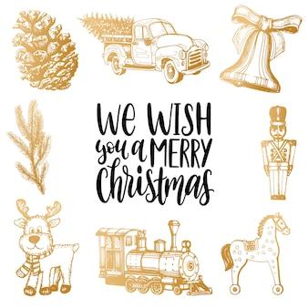 Wir wünschen ihnen frohe weihnachten schriftzug mit handgezeichneten krippen spielzeug illustrationen.