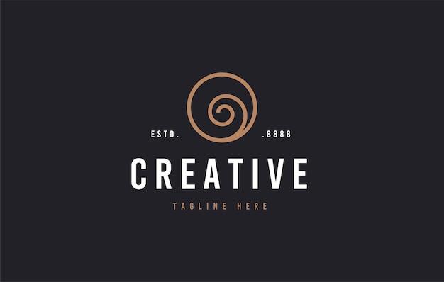 Wirbel flach einfache linie logo-design-vorlage
