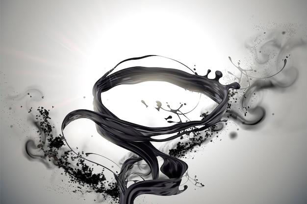 Wirbelnde schwarze flüssigkeiten und ascheelemente