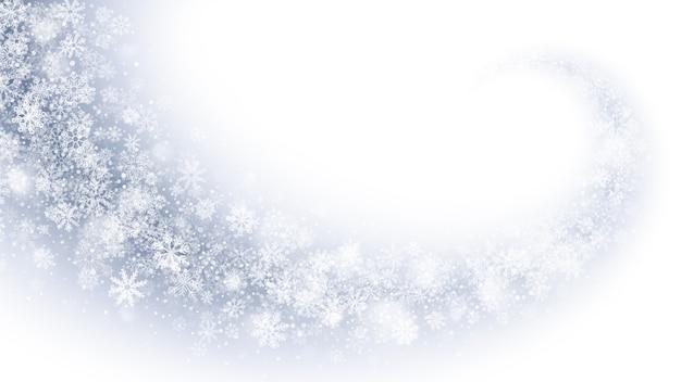 Wirbelnder magischer schnee-effekt-weißer abstrakter hintergrund