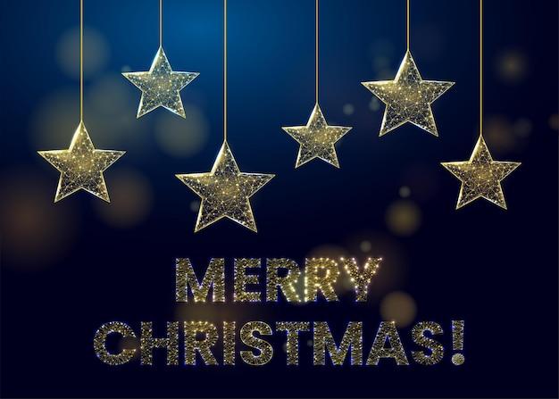 Wireframe goldene sterne und kugeln, low-poly-stil. banner für das konzept von weihnachten oder neujahr mit einem platz für eine inschrift. abstrakte moderne illustration des vektors 3d auf blauem hintergrund.
