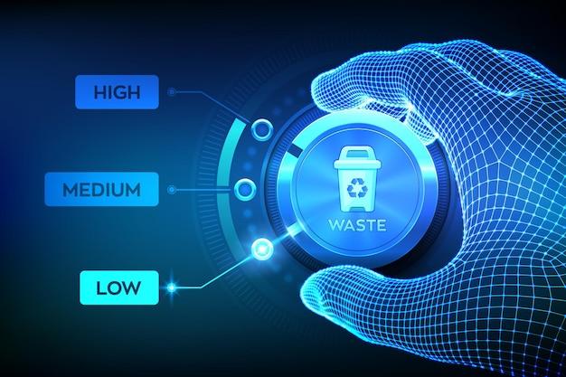 Wireframe-taste zum einstellen des abfallniveaus von hand auf die niedrigste position, um die herstellung zu optimieren und die kosten zu senken