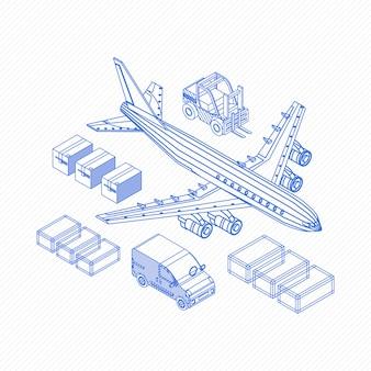 Wireframe von logistikikonen