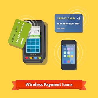 Wireless business payment flat icon set
