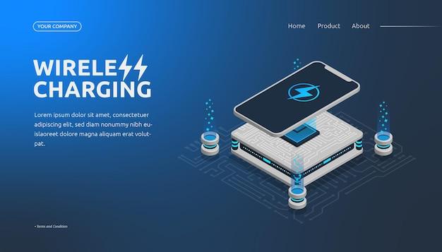 Wireless charging landing page 3d isometrisch