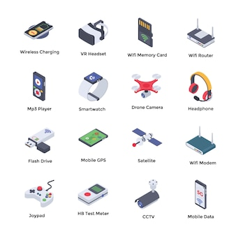 Wireless technologies isometric icons pack