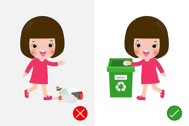 Wirf keine müllkippen auf den boden, falsche und richtige weibliche figur, die dir das richtige verhalten zum recyceln sagt. hintergrundillustration