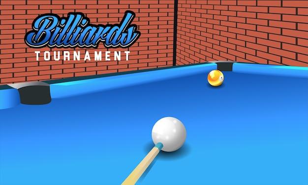 Wirklicher vektor billiard auf vorderansichtbällen der tabelle