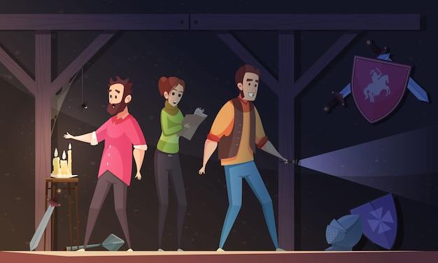 Wirklichkeits-suche-karikatur-illustration