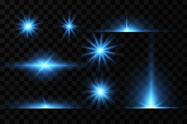 Wirkung des hellen leuchtens von blauen sternen lichtpartikel