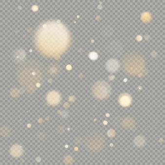 Wirkung von bokeh-kreisen auf transparenten hintergrund. weihnachten leuchtend warmes orange glitterelement, das verwendet werden kann.